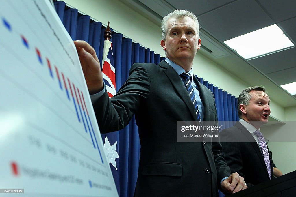 Shadow Minister for Finance <a gi-track='captionPersonalityLinkClicked' href=/galleries/search?phrase=Tony+Burke&family=editorial&specificpeople=1410357 ng-click='$event.stopPropagation()'>Tony Burke</a> and Shadow Treasurer Chris Bowen attend a press conference to announce Labor's Budget Costings on June 26, 2016 in Brisbane, Australia. Bill Shorten launched the Australian Labor Party Campaign in Brisbane and is campaigning heavily on Medicare, promising to make sure it isn't privatised if the Labor Party wins the Federal Election on July 2.