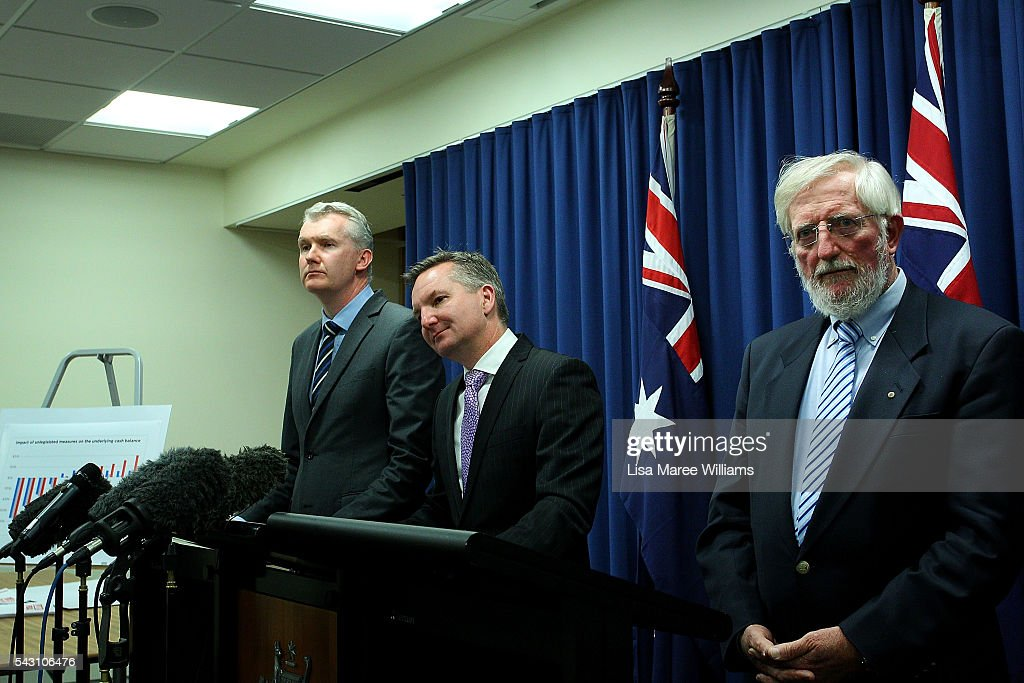 Shadow Minister for Finance <a gi-track='captionPersonalityLinkClicked' href=/galleries/search?phrase=Tony+Burke&family=editorial&specificpeople=1410357 ng-click='$event.stopPropagation()'>Tony Burke</a> and Shadow Treasurer Chris Bowen are joined by Dr Michael Keating during a press conference to announce Labor's Fiscal Plan on June 26, 2016 in Brisbane, Australia. Bill Shorten launched the Australian Labor Party Campaign in Brisbane and is campaigning heavily on Medicare, promising to make sure it isn't privatised if the Labor Party wins the Federal Election on July 2.