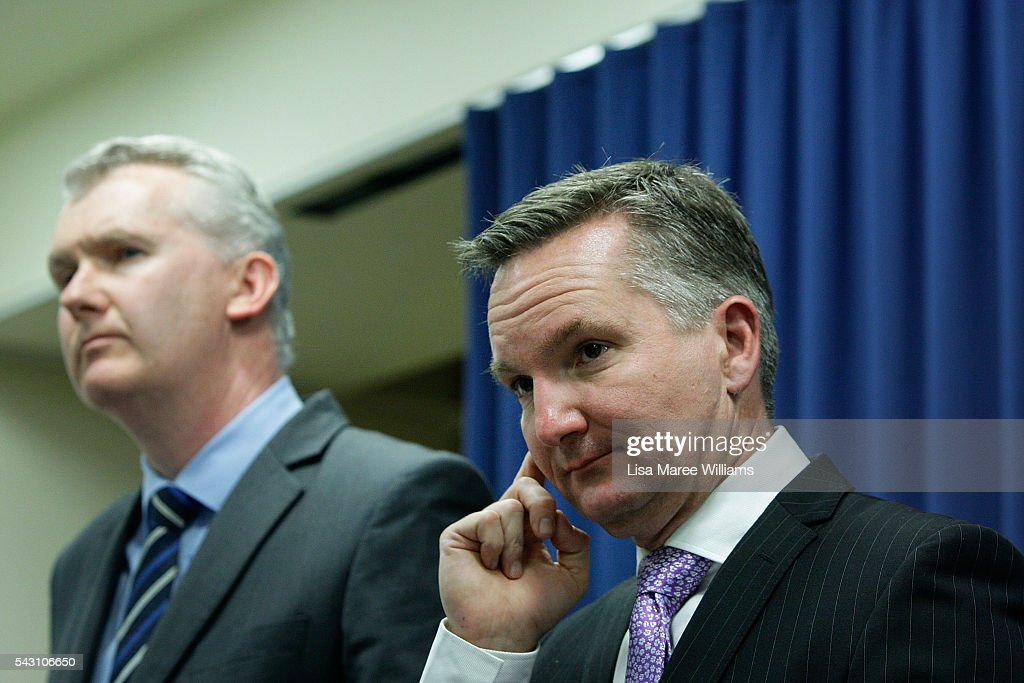 Shadow Minister for Finance <a gi-track='captionPersonalityLinkClicked' href=/galleries/search?phrase=Tony+Burke&family=editorial&specificpeople=1410357 ng-click='$event.stopPropagation()'>Tony Burke</a> and Shadow Treasurer Chris Bowen are attend a press conference to announce Labor's Fiscal Plan on June 26, 2016 in Brisbane, Australia. Bill Shorten launched the Australian Labor Party Campaign in Brisbane and is campaigning heavily on Medicare, promising to make sure it isn't privatised if the Labor Party wins the Federal Election on July 2.