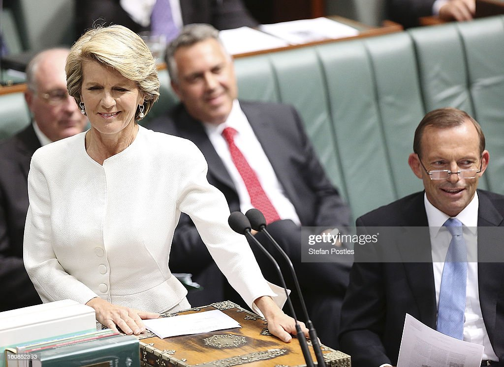 Shadow Minister for Foreign Affairs <a gi-track='captionPersonalityLinkClicked' href=/galleries/search?phrase=Julie+Bishop&family=editorial&specificpeople=1198450 ng-click='$event.stopPropagation()'>Julie Bishop</a> during House of Representatives question time at Parliament House on February 7, 2013 in Canberra, Australia. Parliament resumes for the first sitting of 2013 this week, just days after Prime Minister Gillard, announced a federal election date of September 14, 2013.