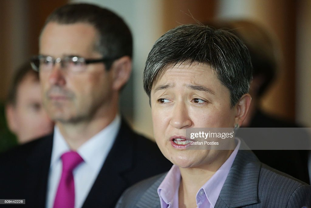 Shadow Minister for Trade and Investment Senator Penny Wong speaks to the media regarding the build of Australia's Offshore Patrol Vessels in South Australia on February 11, 2016 in Canberra, Australia. Nationals Leader and Deputy Prime Minister Warren Truss and Trade Minister Andrew Robb will retire at the next election.