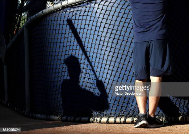A shadow of a San Diego Padres player practicing his swing is seen on the back of the batting cage prior to the MLB game between the San Diego Padres...