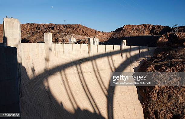Shadow of bridge on Hoover Dam, Nevada, USA