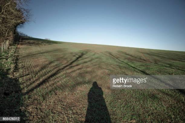 Shadow of figure on bare field