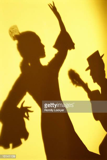 Shadow of flamenco dancer and guitarist performing