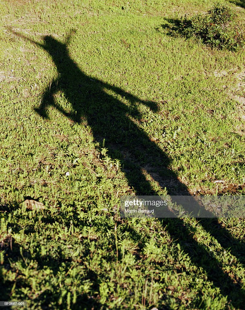 Shadow of girl (7-9) on man's shoulders cast on grass : Stock Photo