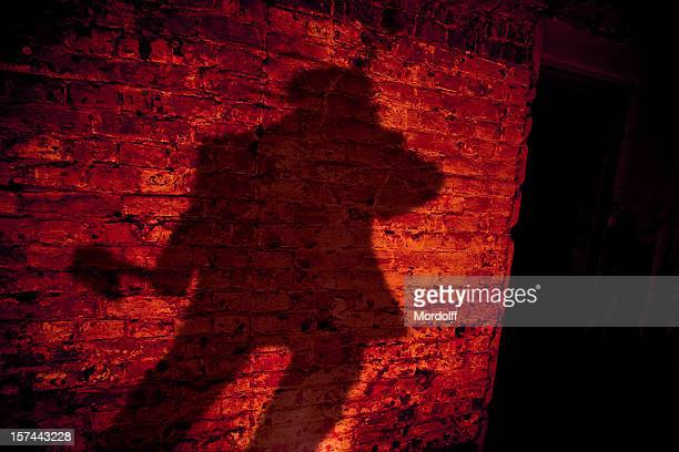 Shadow of killer with axe on the brick wall