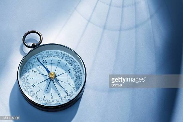 Schatten der Längen- und Breitengrad-Linien geben auf einen Kompass