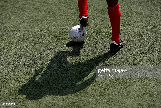A shadow of Mulgheta Russom of Stuttgart is seen on the pitch during the 'BlindenfussballBundesliga' match between MTV Stuttgart and ISC Viktoria...