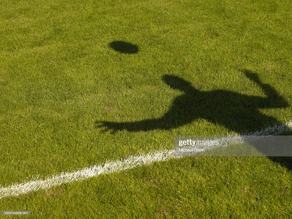 Shadow of person and ball cast on pitch : Stock Photo