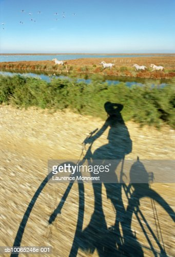 Shadow of person riding bicycle on dirt track