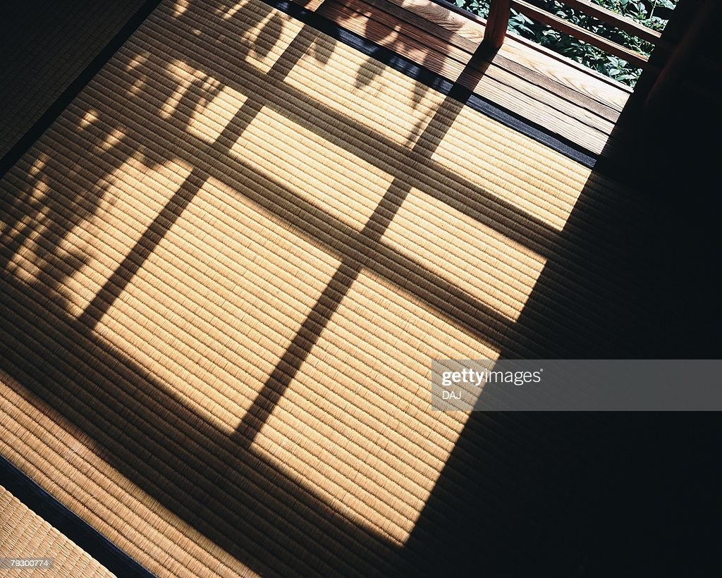 Shadow on Tatami mat in Japanese style room, high angle view, Japan : Stock Photo