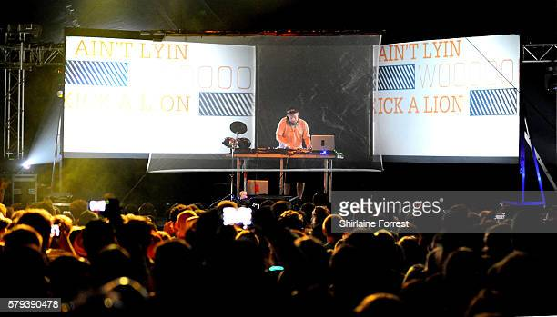 DJ Shadow performs using 3D projections at Bluedot Festival at Jodrell Bank on July 22 2016 in Macclesfield England