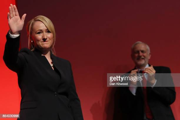 Shadow Secretary of State for Business Energy and Industrial Strategy Rebecca LongBailey's is congratulated by Labour Leader Jeremy Corbyn after her...