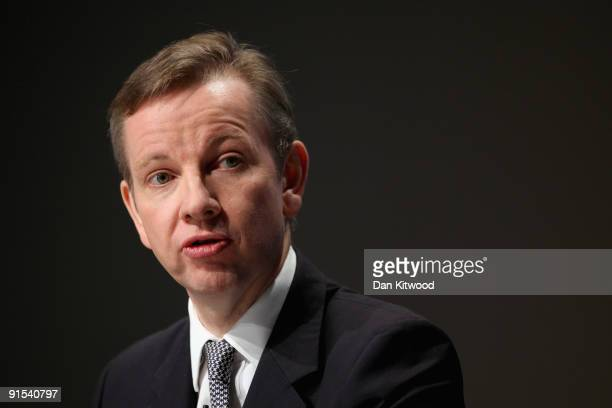 Shadow Secretary of State for Children Schools and Families Michael Gove speaks to delegates on the third day of the Conservative Party Conference on...