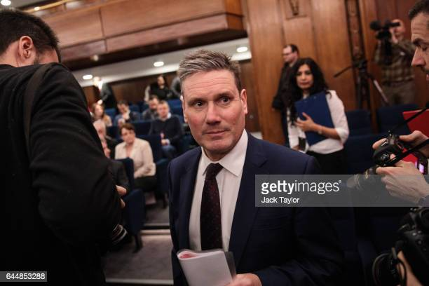 Shadow Secretary of State for Exiting the EU Keir Starmer attends a press conference on Brexit at 2 Savoy Place on February 24 2017 in London England...