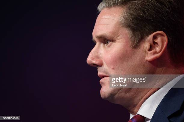 Shadow Secretary of State for Exiting the European Union Keir Starmer addresses delegates in the main hall on the second day of the Labour Party...
