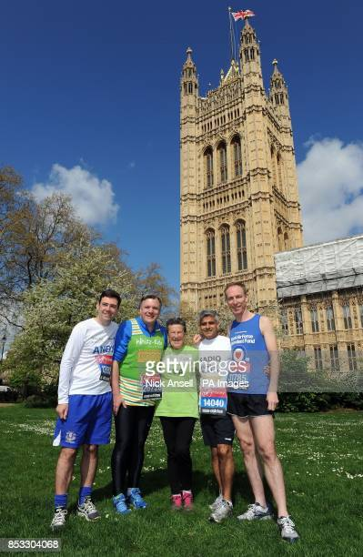 Shadow Secretary of State for Health Andy Burnham Shadow Chancellor of the Exchequer Ed Balls oldest female runner in this weekend's marathon Iva...