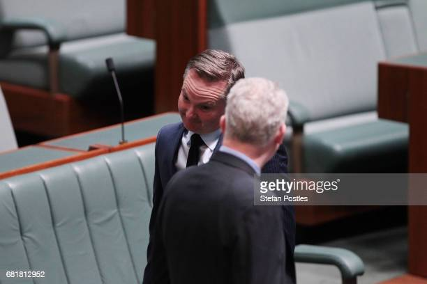 Shadow Treasurer Chris Bowen arrives to hear Opposition Leader Bill Shorten deliver his budget reply address in the House of Representatives at...