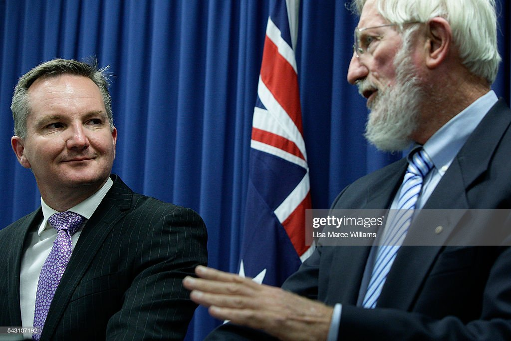 Shadow Treasurer Chris Bowen is joined by Dr Michael Keating during a press conference to announce Labor's Fiscal Plan on June 26, 2016 in Brisbane, Australia. Bill Shorten launched the Australian Labor Party Campaign in Brisbane and is campaigning heavily on Medicare, promising to make sure it isn't privatised if the Labor Party wins the Federal Election on July 2.