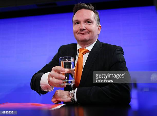 Shadow Treasurer Chris Bowen prepares to give his budget reply address at the National Press Club on May 20 2015 in Canberra Australia The Labor...