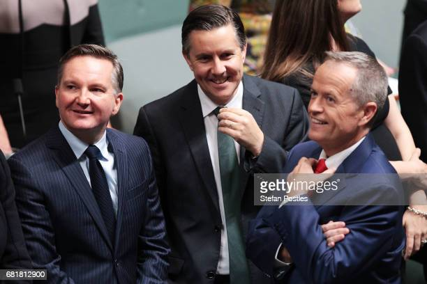 Shadow Treasurer Chris Bowen stands with Opposition Leader Bill Shorten prior to him delivering his budget reply address in the House of...