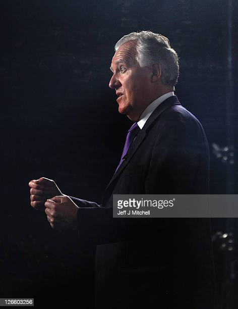 Shadow Welsh Secretary Peter Hain is interviewed in a television studio during the Labour party conference at the Echo Arena on September 26 2011 in...