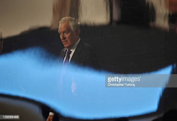 Shadow Welsh secretary Peter Hain takes part in a television interview during the Labour party conference at the Echo Arena on September 26 2011 in...