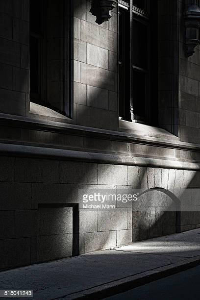Shadowed building facade