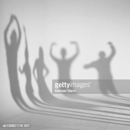 Shadows dancing on white background : Stock Photo
