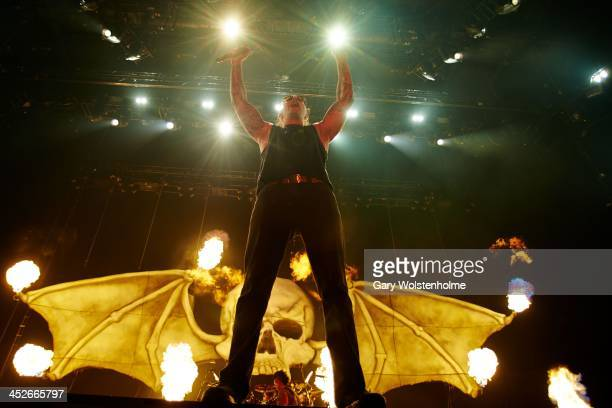 M Shadows of Avenged Sevenfold performs on stage at Phones 4 U Arena on November 30 2013 in Manchester United Kingdom