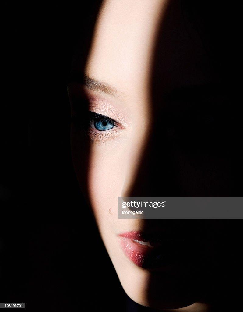 Shadows on Woman's Face : Stock Photo