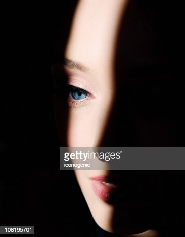 Shadows on Woman's Face : Stock Photo