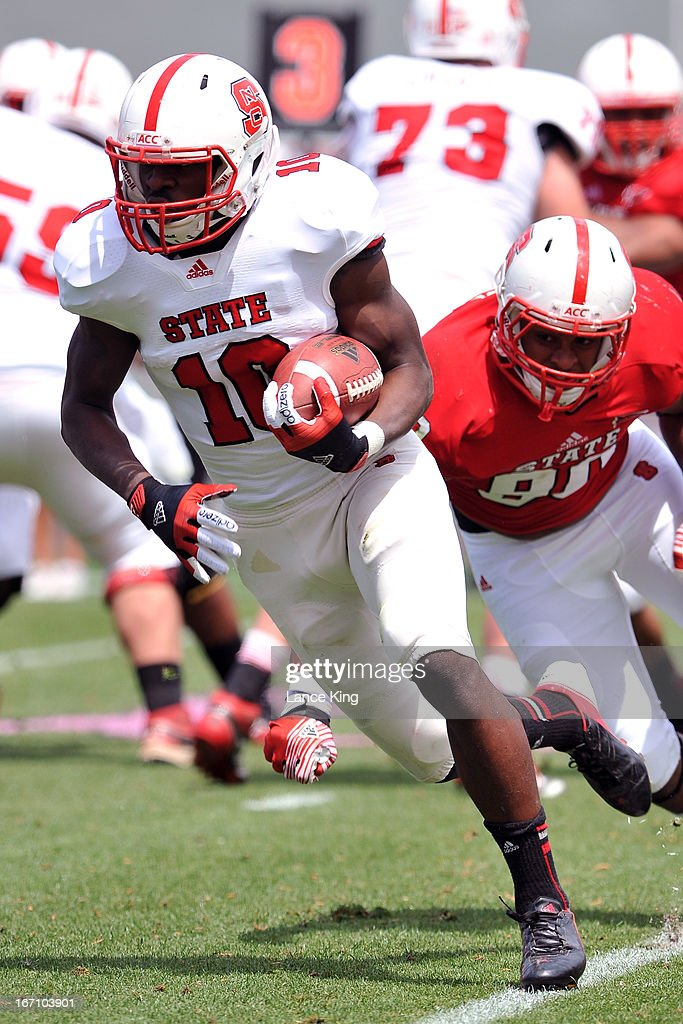 Shadrach Thornton #10 of the North Carolina State Wolfpack runs with the ball during the Kay Yow Spring Football Game at Carter-Finley Stadium on April 20, 2013 in Raleigh, North Carolina.