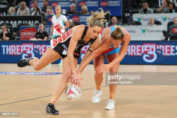 Shae Brown of the Magpies and Paige Hadley of the Swifts compete for the ball during the round 12 Super Netball match between the Magpies and the...