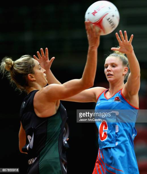 Shae Brown of the Magpies passes during the round six ANL match between the Netball NSW Waratahs and the Tasmanian Magpies at Sydney Olympic Park...