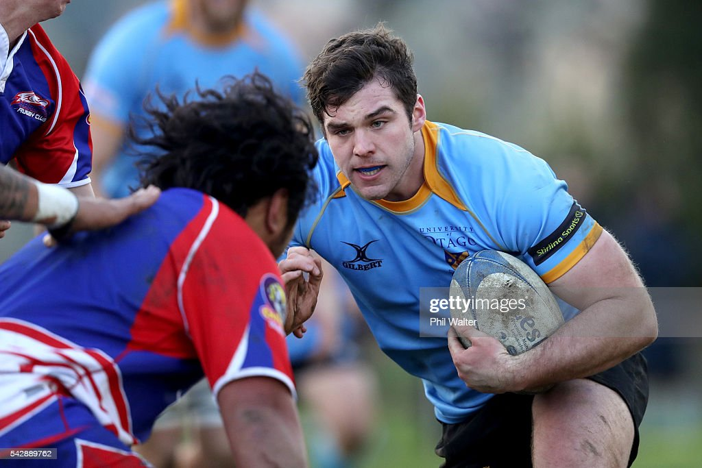 Shae Tucker of University makes a break during the Otago Club Rugby match between Harbour and University at Watson Park on June 25, 2016 in Dunedin, New Zealand.
