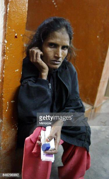 Shaeen a survivor of the 1984 Union Carbide Gas Plant Industrial Disaster in Bhopal India leaves the Bhopal medical centre where she is a patient as...