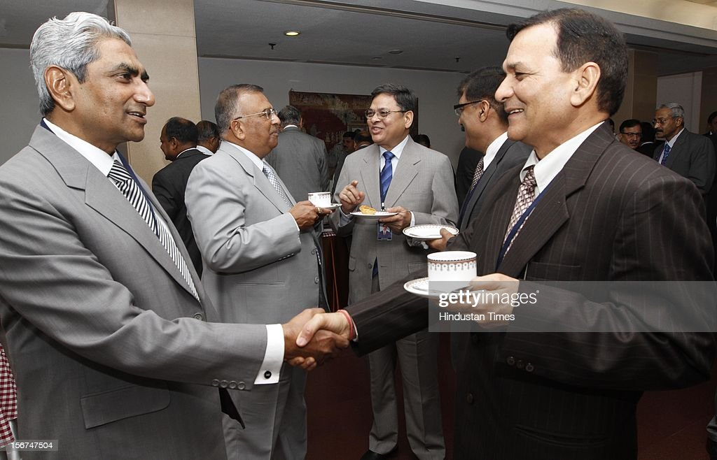 'NEW DELHI, INDIA- SEPTEMBER 6: Shafi Alam ,DG of NCRB with A.C. Sharma DG of Uttar Pradesh Police at the DGPs/IGPs Conference at Vigyan Bhawan on September 6, 2012 in New Delhi, India. (Photo by Arvind Yadav/Hindustan Times via Getty Images) '