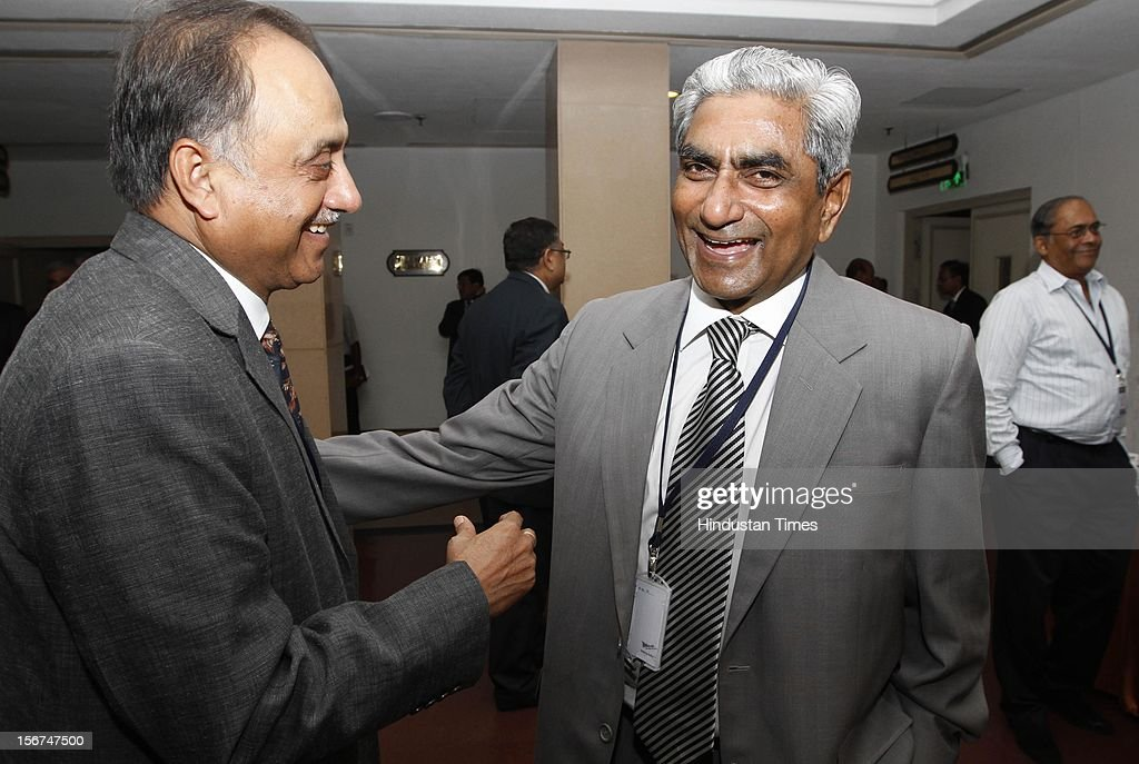 'NEW DELHI, INDIA- SEPTEMBER 6: Shafi Alam ,DG of NCRB with Neeraj Kumar Delhi police Commissioner at the DGPs/IGPs Conference at Vigyan Bhawan on September 6, 2012 in New Delhi, India. (Photo by Arvind Yadav/Hindustan Times via Getty Images)'