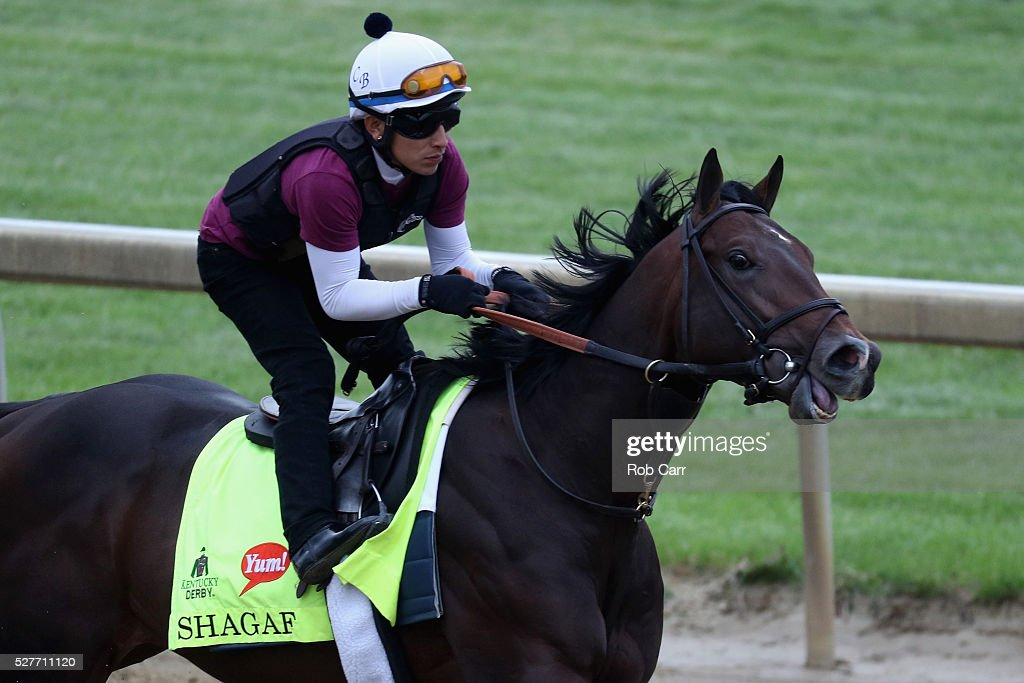 Shagaf trains on the track for the Kentucky Derby at Churchill Downs on May 03, 2016 in Louisville, Kentucky.