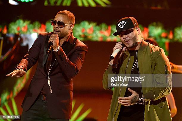 Shaggy and Farruko perform onstage during Telemundo's Latin American Music Awards at the Dolby Theatre on October 8 2015 in Hollywood California