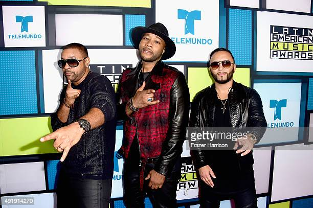 Shaggy Gene Noble and Alex Sensation pose in the press room during Telemundo's Latin American Music Awards at the Dolby Theatre on October 8 2015 in...