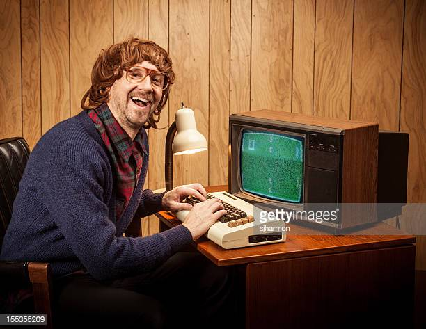 Shaggy haired Geeky Nerd Computer work man vintage style