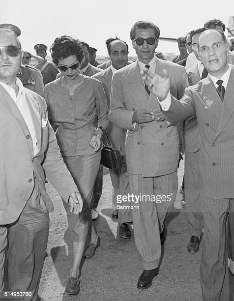Shah of Iran Arrives in Rome Rome Italy The Shah of Iran and his wife the Empress Soraya arrive at Rome airport from Bagdad after the unsuccessful...