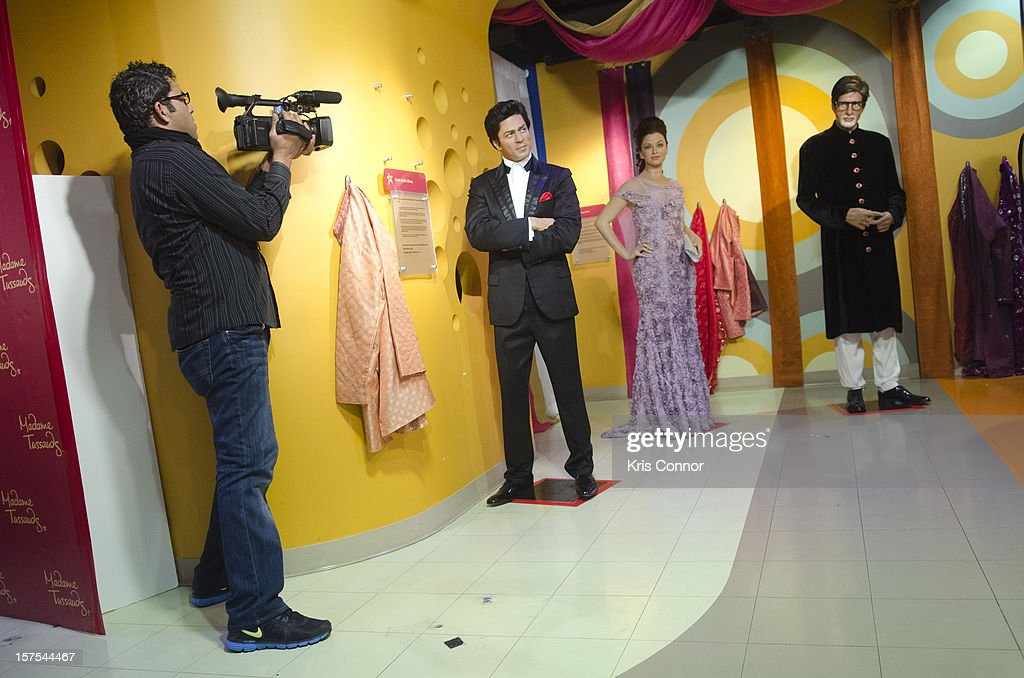 Shah Rukh Khan, Aishwarya Rai, Amitabh Bachchan, Kareena Kapoor and Hrithik Roshan wax figures are unveiled during the launch of the traveling Bollywood Exhibit at Madame Tussauds on December 4, 2012 in Washington, DC.