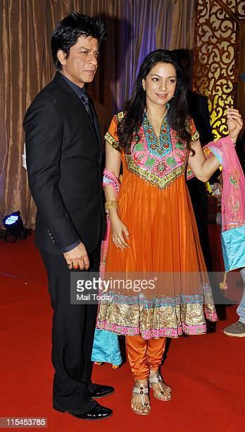 Shah Rukh Khan and Juhi Chawla arrive for Ganesh Hegde's wedding reception at Grand Hyatt in Mumbai on June 5 Sunday