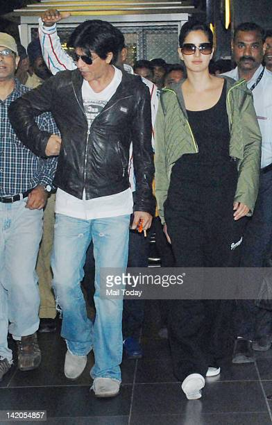 Shah Rukh Khan and Katrina Kaif arrive at Mumbai Chhatrapati Shivaji International Airport on Wednesday Bollywood actors returned from London after...