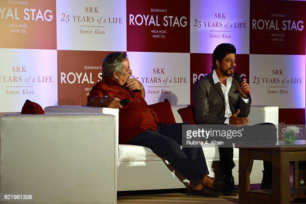 Shah Rukh Khan and Piyush Pandey at the release of the book SRK 25 Years Of A Life at Taj Lands End on November 9 2016 in Mumbai India