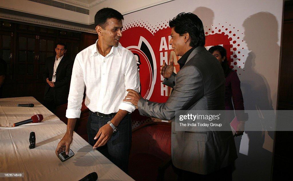 Shah Rukh Khan and Rahul Dravid at the opening ceremony of University Cricket Championship 2013 at Cricket Club in Mumbai on Saturday, February 23, 2013.